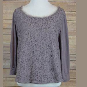 LC Lauren Conrad Floral Knit 3/4 Sleeve Blouse